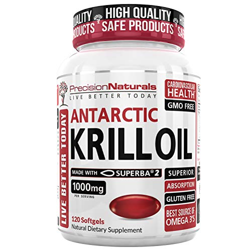 Krill Oil 1000mg/Serving Softgel Capsules Best Source of Pure Omega 3s EPA DHA and Astaxanthin Suberba2 (TM) MSC Certified Red Oil Supplement for Mega Results Antarctic Krill Oil