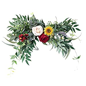 MagiDeal Artificial Wreath Hanging Silk Flower Rose Garland Wedding Arch Swag for Indoor Outdoor Farmhouse Window Wall Wedding Party Decoration