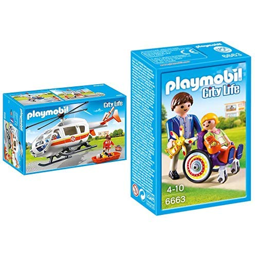 Playmobil 6686 - Rettungshelikopter &  6663 - Kind im Rollstuhl