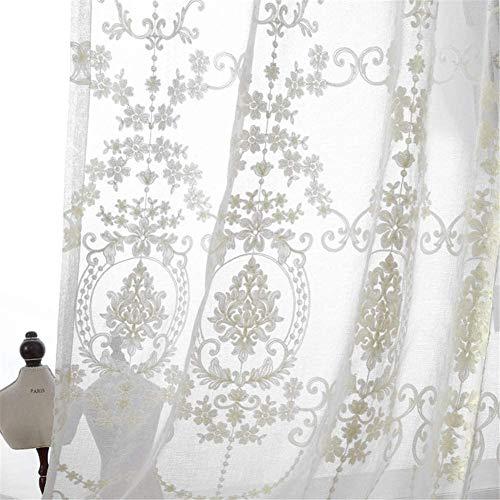 LYDMLZYD Tenda da Ricamo Pannelli di Tende di Cotone di Lino Bianco in Tende Tende Classiche per Le Ragazze per Soggiorno Camera da Letto Balcone 1 pz