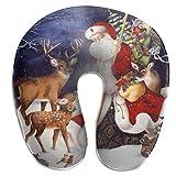 Hdadwy Almohada en Forma de U Cuello Feliz Navidad Reno Papá Noel Viaje Almohada Multifuncional...