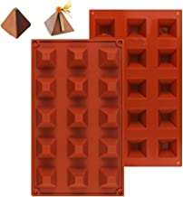 Palksky (2 Pcs) 15 Cavity Bite Size Pyramid Chocolate Molds/Silicone Geometric Gems Candy Mold for Truffles Brownie Ganache Jelly Pralines Caramels Pudding Keto Fat Bombs Cheesecake Baking Mold