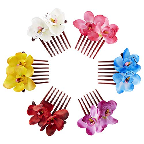 6 Pack Super Large Artifical Orchid Flower Floral Plastic Hair Side Combs Clips With Teeth Hairpins Grips Barrettes Clamps Bows for Women Wedding Decorative Holiday Party Headpiece Twist Accessories