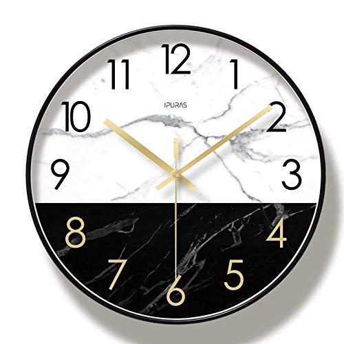 WWJJTT Dekoration Uhr runde Marmor Schwarz-Weiß-Muster stille Wanduhr 10 Zoll / 12 Zoll / 14 Zoll Wohnzimmer Schlafzimmer Uhr-Vierzehn Zoll