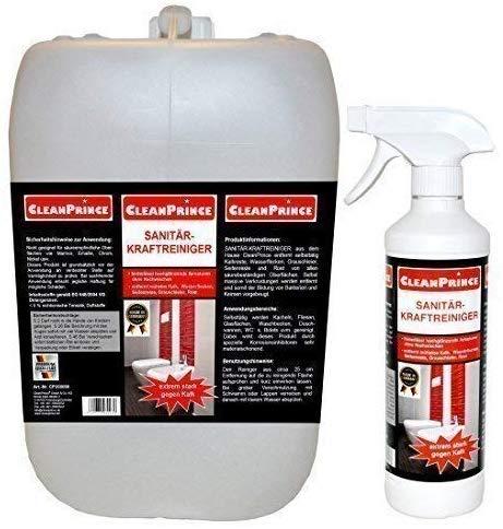 CleanPrince Sanitär Kraftreiniger 2.500 ml (2,5 Liter) Kalk Wasserflecken Dusche WC Reiniger Reinigungsmittel Wanne Dusche Badezimmer Gastronomie Entkalker Kalklöser Sanitärreiniger Toiletten
