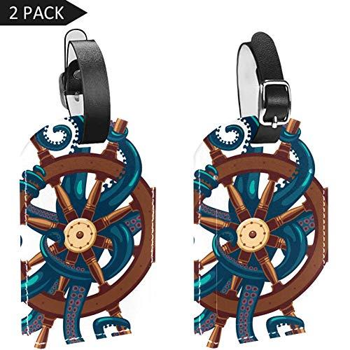 Etiquetas de equipaje Ocyopus con ruedas náuticas de cuero para maleta de viaje, 2 paquetes
