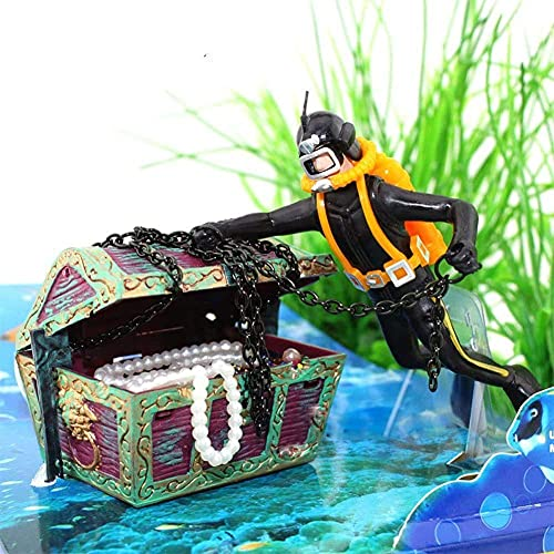 Abnaok Aquarium Fish Tank Treasure Chest Diver Ornament, Air Bubbler Decorations for Fish Tank, Need to Connect Air Pump