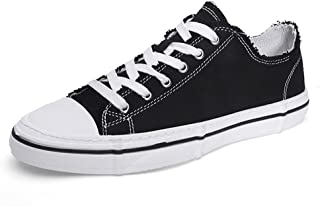 XUJW-Shoes, Canvas Shoes for Men Fashion Casual Skate Sneakers Lightweight Breathable Anti-Slip Flat Lace Up Round Toe Low Top Vegan Durable Travel Classic Soft (Color : Black, Size : 8 UK)