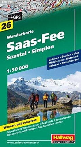 Saas-Fee 1:50.000. Carta escursionistica: Wanderkarte