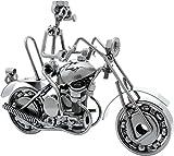 BRUBAKER Modelo de Motocicleta de Metal con Conductor - 8 X 14 X 17 Cm - Hecho a Mano - Idea de Regalo para Los Aficionados a Las Motos
