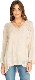 Johnny Was Women's Bell Sleeve Landon Embroidered Top, Cinder Block, X-Large