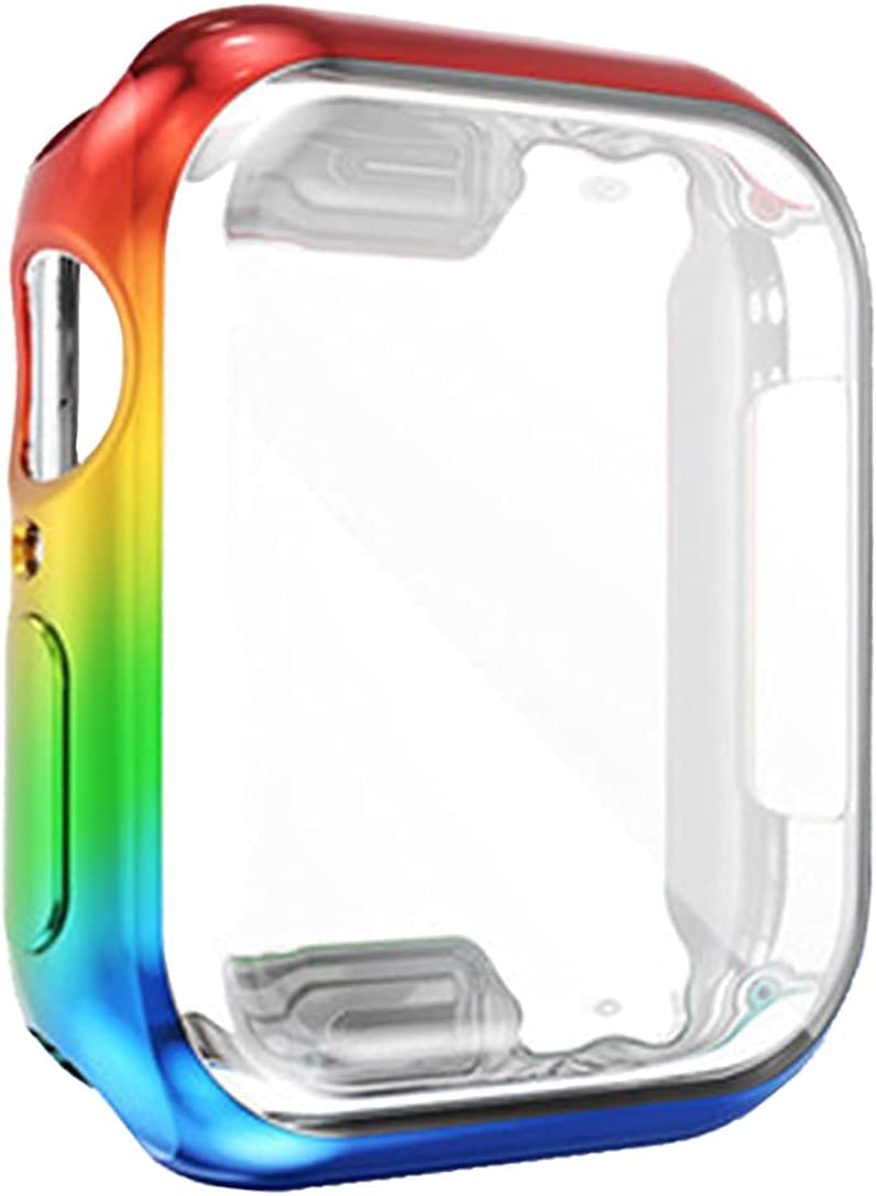Rainbow Gay Pride Case for Apple Watch Series 6 44mm Men,LGBTQ iWatch 44 mm Face Cover Bumper Iridescent Screen Protector, Smartwatch Accessories Series6/5/SE Round Defense Edge Stuff Coming Out Gifts