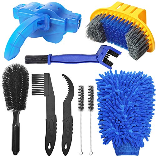koitoy 9 Pcs Bike Cleaning Tools Set,Full Bike Chain Cleaner Bicycle Cleaning Kit,Bike Motorbike Cleaning Kits Tools for Cleaning Bike Chain/Crank/Tire/Sprocket (9pcs cleaning set)