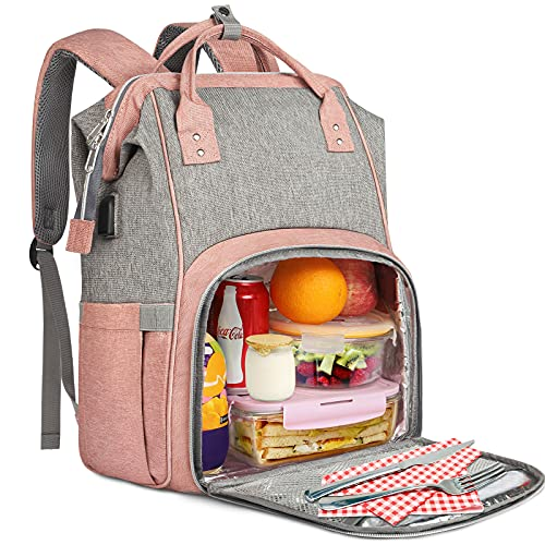 Lunch Backpack for Women, Insulated Cooler Lunch Box Laptop Backpack with USB Port for Girls, Water Resistant Leak-proof Lunch Bag, College Computer Bookbag for Work Picnic Beach Fits 15.6 Inch Laptop