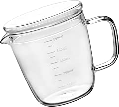 Cabilock Szklana miarka do pieczenia, 500 ml, z pokrywką, odporna na ciepło, do picia, cylindryczna, do mleka, dla dzieci