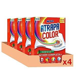Micolor Toallitas Atrapacolor, Sin Especifica, 64 lavados, 10 + 6 Unidades, Pack de 4, 64 Unidades