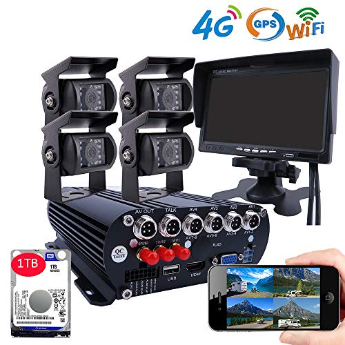 JOINLGO 4CH 4G GPS WiFi 1080P Mobile Vehicle Car Dvr Camera System with 1TB HDD 2.0MP Car Cameras with Night Vision, Weatherproof, Motion Detection, Remote Monitor for Truck ONLY Support TMOBILE