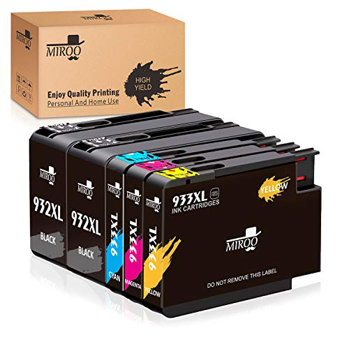 MIROO Compatible Ink Cartridge Replacement for HP 932 933 XL Combo(2 Black 1 Cyan 1 Magenta 1 Yellow),Compatible with HP Officejet 6700 6600 7612 6100 7610 7110 Printer
