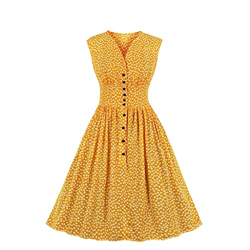 JFTMY Frauen Elegant Kleider Slit Split Hals Blumendruck Hohe Taille Button Down Swing Midi Pin Up Vintage Tee Kleid (Color : Yellow, Size : X-Large Code)