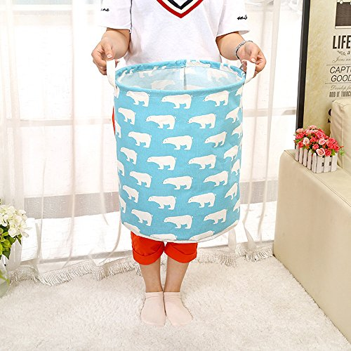 FILOL Waterproof Foldable Laundry Hamper Dirty Clothes Laundry Basket Cute Polar Bear Pattern Linen Bin Storage Organizer for Toy Collection