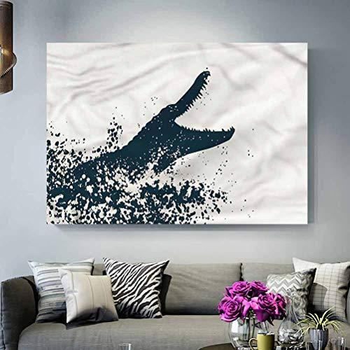 ParadiseDecor Bathroom Wall Decoration No Frame Animal,Monochrome Crocodile River Gifts for him L30 x H60 Inch