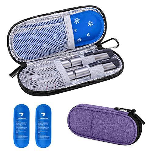 Yarwo Diabetiker Tasche mit Kühlakku für Insulin, Insulin Kühltasche für Zuckerkrank Medikamente, Reisetasche für Insulin Pen, Insulinspritzen, Insulin und Andere Diabetikerzubehör, Lila