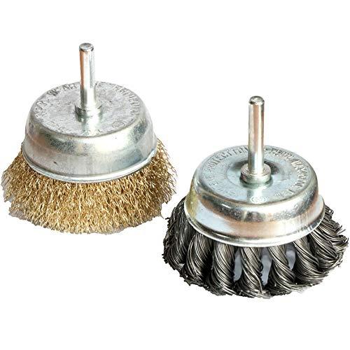Cepillo de pulido Cepillos de rueda de alambre de 3 pulgadas, taza estrenada anudada para la eliminación de óxido, la corrosión y la pintura.Alambre de acero endurecido para el alambre reducido Brea