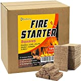 Natural Fire Starters 144 Squares Charcoal Starter for Grills Fireplace Camp...