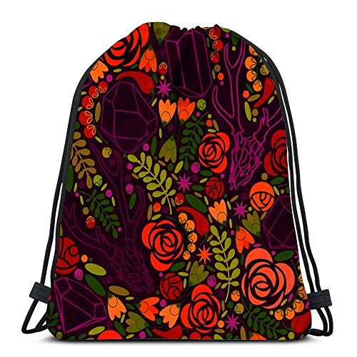 JDHFJ Bolsa con cordón Drawstring Backpack Sport Bags Cinch Tote Bags Retro Crystals Roses and Spices for Traveling and Storage