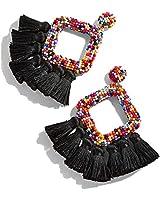 Beaded Tassel Drop Earrings – Statement Hoop Fringe Earrings Dangle, Gift Idea for Women, Girl, Mother, Sister, Daily Wearing