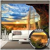 Great Art Fototapete – Sonnenuntergang im Naturpark – Wandbild Dekoration Seljalandsfoss Wasserfall Island Landschaft Natur Waterfall Sunset Wandtapete Fotoposter Wanddeko (336 x 238 cm)