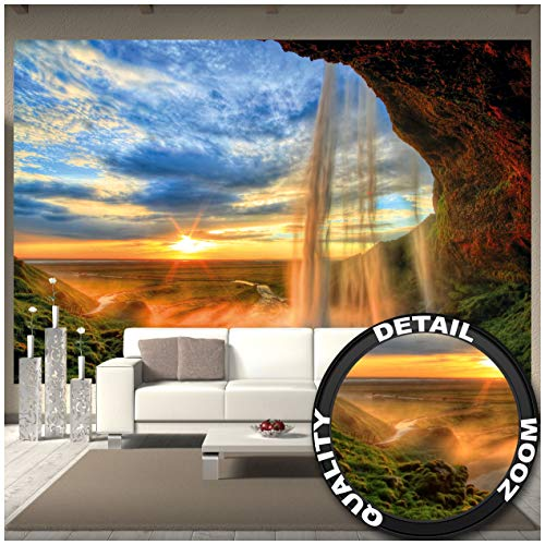Wall Mural  Waterfall  Mural Decoration Sunset on The Horizon Nature Relaxation Landscape Romance Rocks River Relax Wallposter Photoposter (132.3 x 93.7 Inch / 336 x 238 cm)