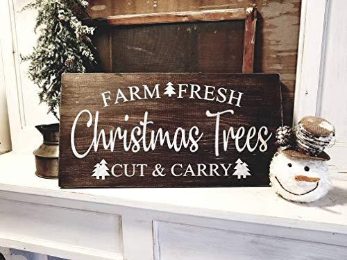 qidushop Weihnachtsbaum-Schild, Bauernhof, geschnitten, im Tragekabinen-Stil, Weihnachtsbaum-Schild, rustikal, Weihnachtsdeko, Holzschild, Wohnzimmer, Schlafzimmer, Dekoration