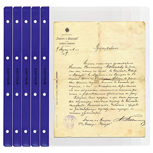 PELLER'S 10 Hojas de colección, Cada Página, para Billetes y Documentos. Fundas para Álbum, Extra Transparente, Modelo XL: 1 Departamento 219mm X 300mm