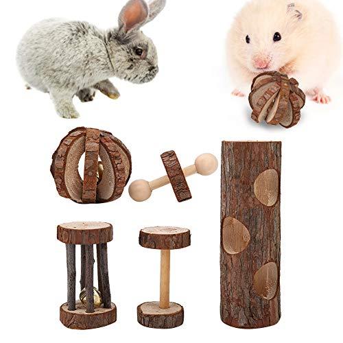 Camidy 5 Piezas Juguetes para Masticar Hámster Mancuernas de Madera Natural Ejercicio en Forma de Juguetes para Masticar Mascotas Cuidado de Los Dientes Bola Molar para Conejos Rata