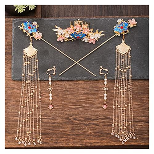 Cabello de oro de la horquilla del oro del chino tradicional para el cabello de la boda accesorios para el cabello de la diadema de la cabeza del tocado de la cabeza de la joyería de la cabeza del cab