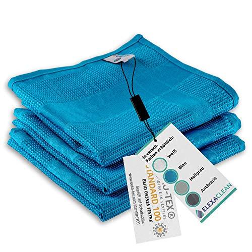 ELEXACLEAN Geschirrtücher Microfaser (3er Set, 68x42 cm, blau) - OEKO-TEX® STANDARD 100 - Geschirrhandtücher, Handtücher Küche modern