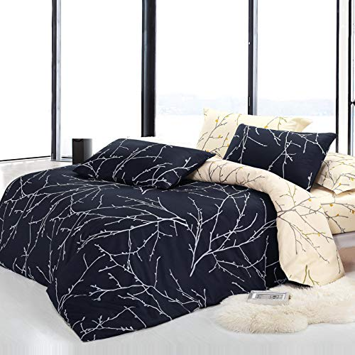 KEAYOO Bettwäsche 135x200 cm Wendebettwäsche mit Zweige Mustern 100% Baumwolle Soft Touch mit Reißverschluss Dunkelgrau 2teilig Set