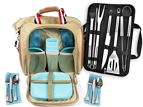 Large Picnic Bag for 4 person with Insulated Cooler Compartment, camping picnic bag with utensils, outdoor picnic bag, cooler with bamboo plates for camping/hiking, BBQ/grilling tools (Blue Dishware)