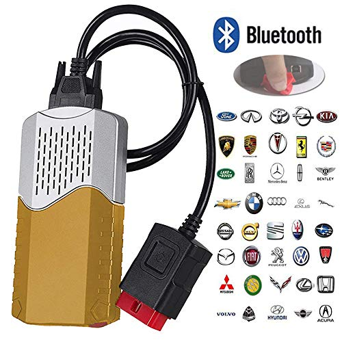 Autoscanner,Diagnose-Tester Diagnosescanner,Tragbarer Taille-Automobil-Camion-Scanner, 150E TCS CDP OBD2 mit Bluetooth-Auto-LKW-Fehlerdiagnose-Instrument 2016.1, Universalauto-Diagnosewerkzeug,Gold