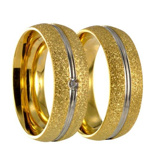 2 diamantierte Bicolor bicolor silber/gold Edelstahl Ring Partnerringe Eheringe +Gravur 40162 Gr 74
