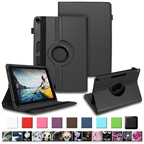 NAUC Tablet Tasche für Medion Lifetab P10610 P10603 P10606 P10602 P9702 Hülle Schutzhülle Universal Kunstleder Standfunktion 360 Drehbar, Farben:Schwarz