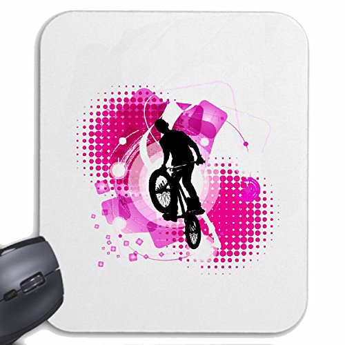 Reifen-Markt Mousepad BMX BICYCLE VINTAGE MOTOCROSS Fiets GRATIS Chopper MOUNTAINBIKE voor uw laptop, notebook of pc Internet (met Windows Linux, etc.) wit