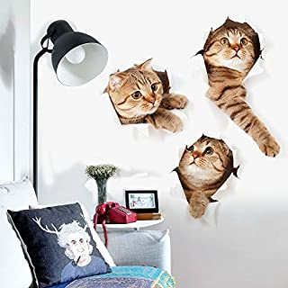 ZRSE 3D Removable Cartoon Animal Cats Large Wall Stickers   Easy to Peel Easy to Stick Safe on Painted Walls   Cute Catty Decor Posters for Nursery Room, Toilet, Kitchen, Offices etc. (15.7 X 28.7 IN)