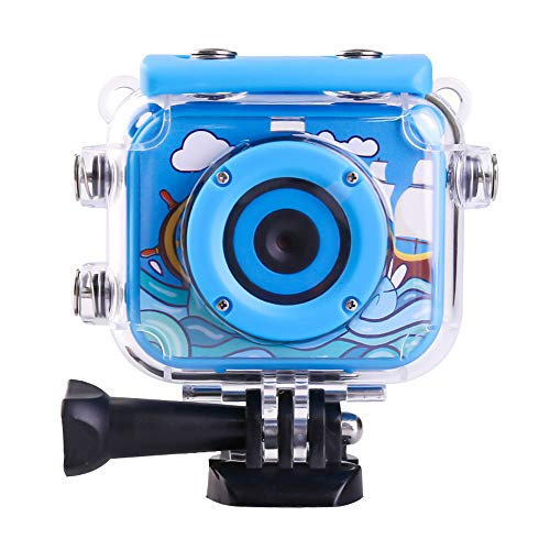 Lucky-seller Kids Action Camera,2.0-inch 12MP 1080P HD Digital Sports Camera,Waterproof Anti-Shake Action Video Recorder,Best Gift for Children,with a Waterproof Sports Kit,Supports 32GB Card(Blue)