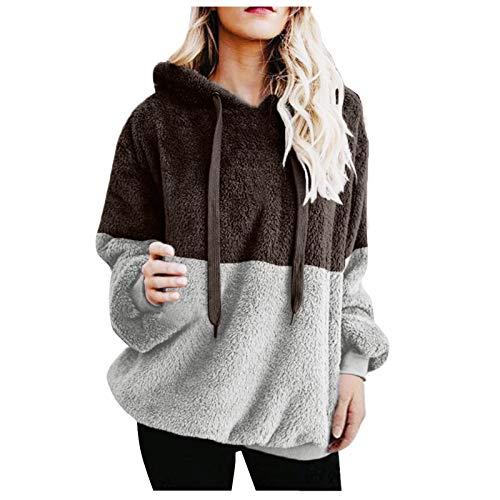 Sudadera Holgada Informal difusa para Mujer con Capucha y Bolsillos Blusa cálida de Invierno Camisas Prendas de Abrigo