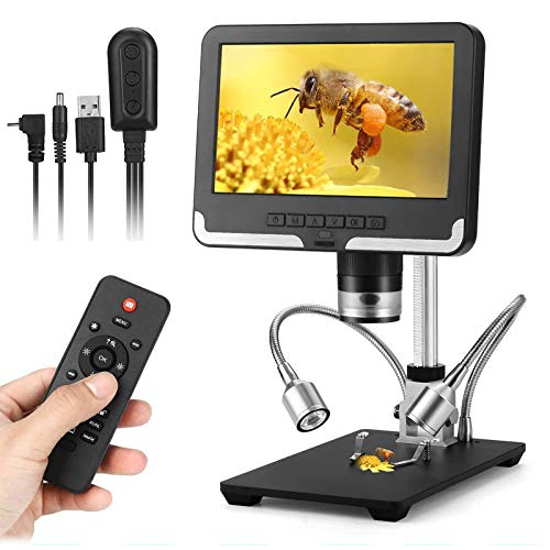 7 inch LCD Digital Microscope,1080P Wireless Remote Control USB Microscope Camera Video Recorder with 8 LED Adjustable Light Source for Circuit Board Repair Soldering PCB Coin