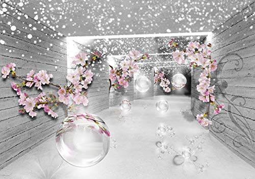 Forwall Fototapete Vlies Tapete Wanddeko 3D Effekt - Tunnel Kirschblüte Geometrisch Abstrakt Blumen Grau Rosa Moderne Wanddekoration Wandtapete Vliestapete 3360V8 368cm x 254cm Wohnzimmer