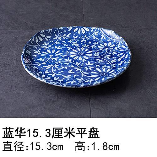 YUWANW Japon Vaisselle en Porcelaine Importée Plaque en Céramique des Importations Japonaises De Plat Dessert Saladier Plat Bol, Bleu Hua 15,3 Cm Plaque Plane