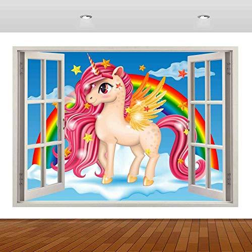 Pegatinas de pared Pegasus caballo blanco Animal 3D Mural calcomanía pared cartel vinilo dibujos animados anime 70x100cm